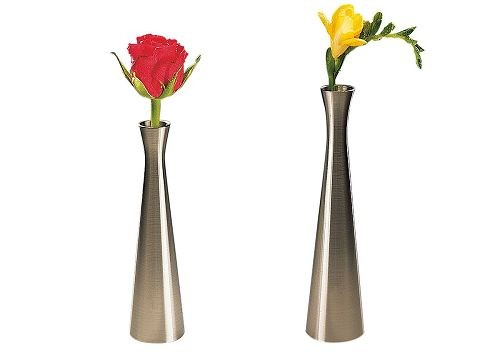 Vase 16 cm, Edelstahl-Look