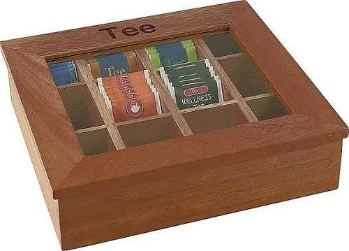 Teebox mit Sichtfenster, 12 Kammern, Holz rotbraun, 31x28 cm