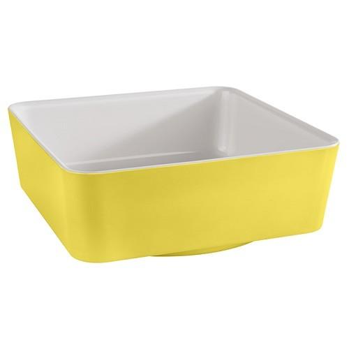 Schale -HAPPY BUFFET- 20x20 cm weiß/gelb