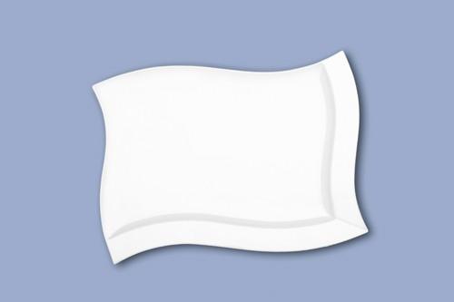 Emotion Platte eckig 31 x 22 cm, Porzellan weiß